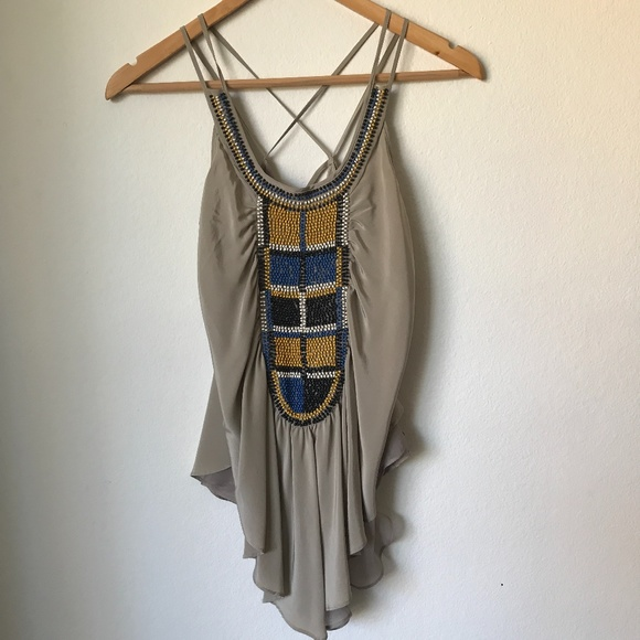 ADDISON STORY BOHO BEADED SILK CAMISOLE TOP IN S